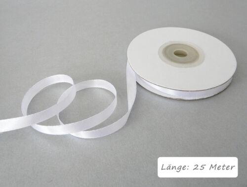Satinband 6mm weiß 25 m Lang Dekoband Floristikband Geschenkband Band