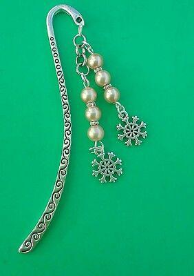 Ivory Beads SNOWFLAKES Tibetan Silver Bookmark Gift//Present.