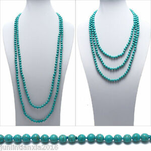 Genuine-Natural-Turquoise-80-034-Long-6mm-Bead-Stranded-Necklace
