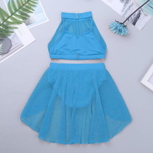 Girl Lyrical Dance Dress Ballet Modern Praise Leotard Crop Top+Lace Skirt Outfit