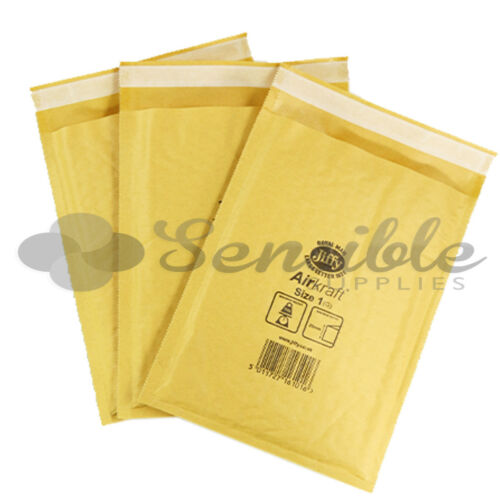 200 x JL1 JIFFY BRANDED PADDED BUBBLE ENVELOPES BAGS GOLD D//1 170x245mm