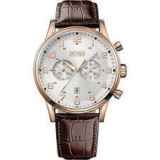 Original hugo boss hb1512921 aeroliner chronograph reloj hombre de cuero marrón nuevo!