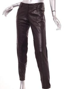 6a28c8bb99d6b8 Image is loading PRADA-Womens-Dark-Brown-Leather-MOTO-Motorcycle-Skinny-