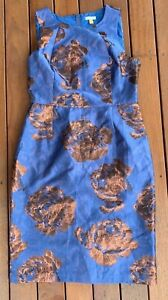 Leifsdottir-Size-10-Blue-amp-Rose-Gold-Pencil-Dress-Cocktail-Party-Anthropologie