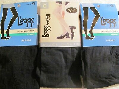 2 pair Leggs Microfiber Tights Opaque Soft /& Silky Size Q Ivory  #032021