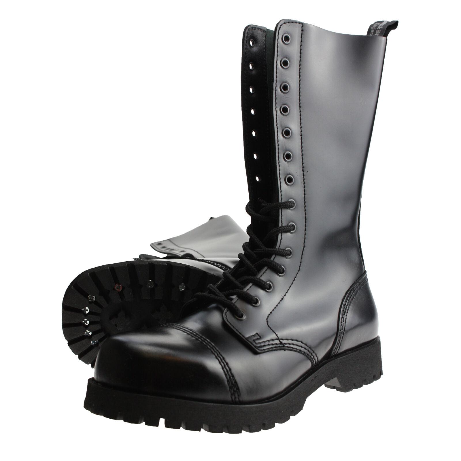 Boots and Braces 14-Loch Stiefel Rangers Springerstiefel Stahlkappe Schwarz