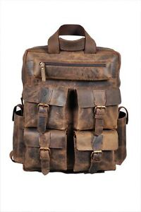 New-Men-039-s-Real-Leather-Large-Backpack-Laptop-Bag-Hiking-Travel-Camping-Carry-On