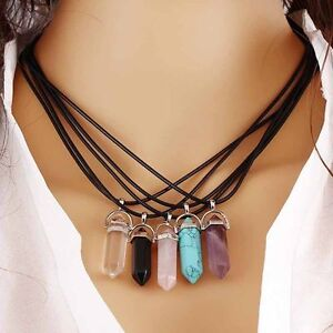Natural-Gemstone-Hexagonal-Prism-Beads-Healing-Pointed-Silver-Pendant-Necklace