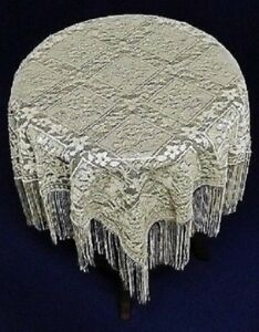 Ivory-Heritage-Lace-Chantilly-52-034-x-52-034-Fringe-Table-Topper-Factory-Irreg
