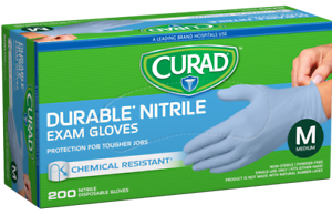 CURAD Durable Nitrile Exam 200 Gloves Size M FASTEST SHIPPING!!! FACTORY SEALED!