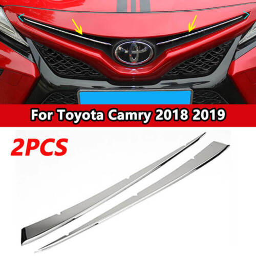 2x Silver Front Center Hood Grille Grill Cover Trim Red For Toyota Camry 2018-19