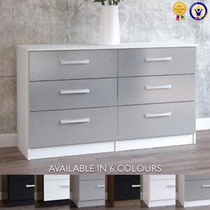 Lynx-6-Drawer-Chest-Sideboard-Gloss-Black-Grey-White-Walnut-Drawers-Cabinet