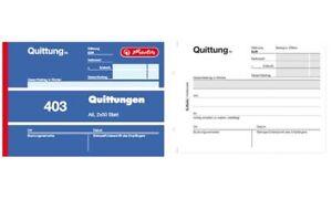 """herlitz Formularbuch """"Quittung 401"""" DIN A6 50Blatt Quittungsblock Quittungsbuch"""