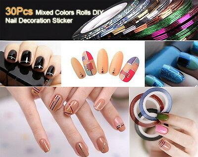 30x Mixed-Colors  Rolls Striping Tape Line Nail Art Tips Decoration Sticker F5