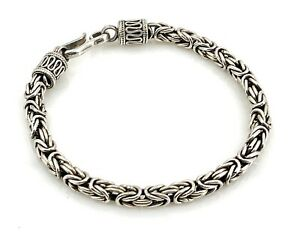 Vintage-Unisex-925-Sterling-Silver-5mm-Byzantine-Chain-Bracelet-8-034