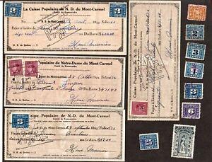 CANADA 11 REVENUE+2CIGARETTES+8CHEQUES+25 2¢ BLUE FX36 + 25 3¢ BLUE FX64 STAMPS
