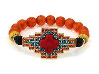 Orange Stretch Bracelet With Beads