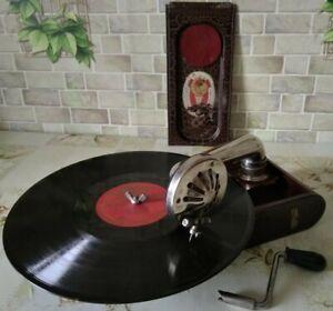 "Vintage rare USSR mini GRAMOPHONE PHONOGRAPH Record Player small 1940""-1950""(EX)"