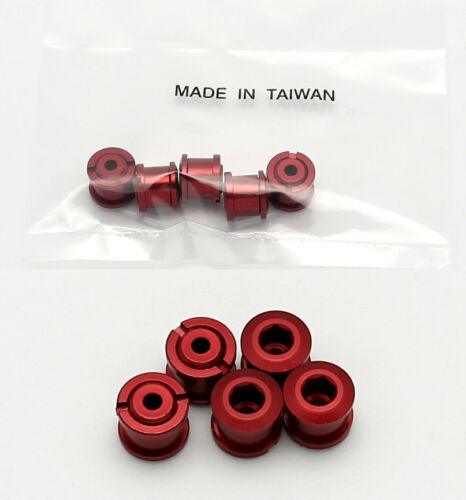 RED BICYCLE BIKE ALLOY CHAIN CHAINRING CRANK NUTS BOLTS SCREWS 5 PAIRS
