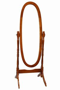 Image Is Loading Full Length Mirror Adjule Oval Nostalgic Oak Stand