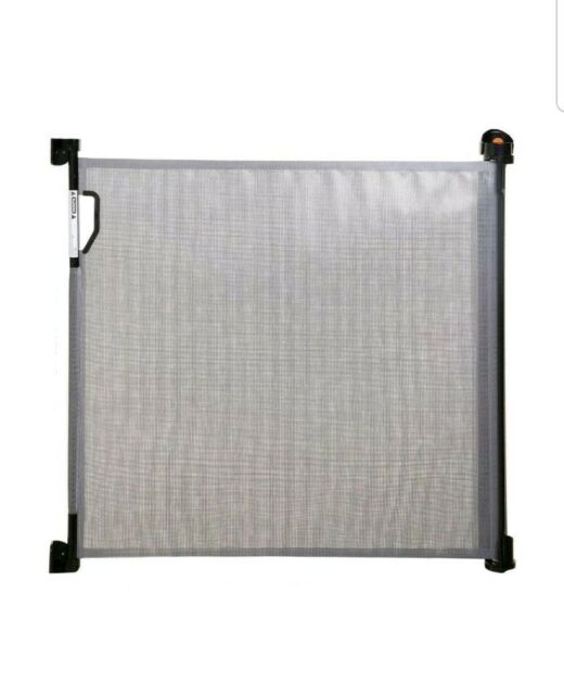 H x 55 in Safety Gate 34 in W Plastic Retractable Indoor//Outdoor in Black