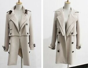 Belted-Crepe-Double-Breasted-Beige-Trench-Coat-2-Pieces-3-Styles