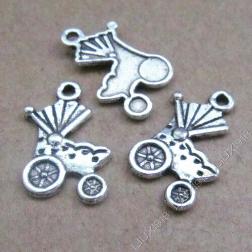 20x Charms Pram Baby Carriage Pendant Beads Retro Tibetan Silver Wholesale S534T