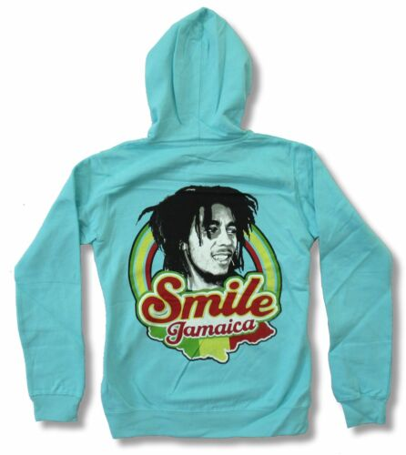 Bob Marley Smile Jamaica Aqua Band Zip Hoodie Sweatshirt New Official Juniors