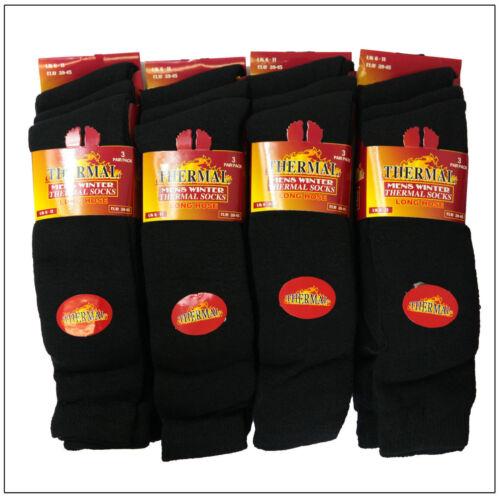 Hommes Femmes Noir Chaussettes Thermiques Épais Chaude//Sports Qualité Chaussettes Parfait Pour Hiver