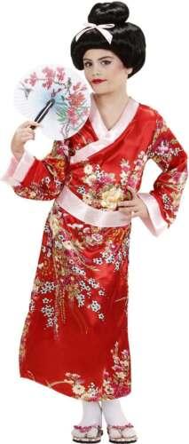 rouge Kimono Ceinture Oriental Tenue - Filles Geisha
