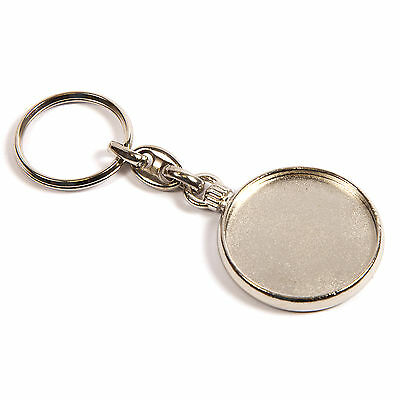 Blank Round Metal Keyring Printed Insert/Logo - Silver Plated 33mm Dia. (MO-33D)