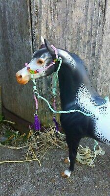 Breyer Peter Stone horse custom halter and lead tan leather beads