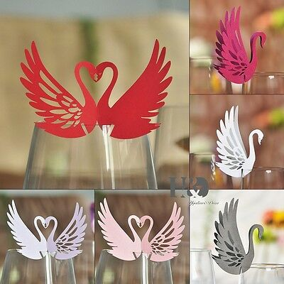 6 Vary Color Swan Shaped Table Mark Wine Glass Name Place Cards Wedding Party
