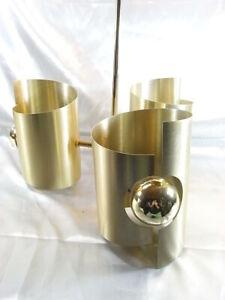 MAX-SAUZE-ANCIEN-RARE-LUSTRE-ALUMINIUM-DORE-SUSPENSION-LAMPE-DESIGN-VINTAGE-LAMP