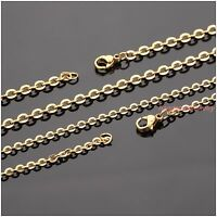 """16-40"""" Fashion Gold Tone Stainless Steel Cross Chain Mens Womens Necklace 3.2mm"""
