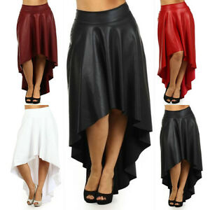 1d38dd56adb Sexy Plus Size Skirt Faux Leather High Waist New Hi Lo Midi Maxi ...