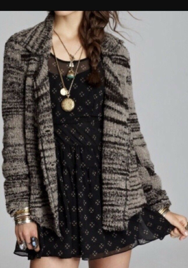 Free People Zebra Yearn Textured  Sweater M