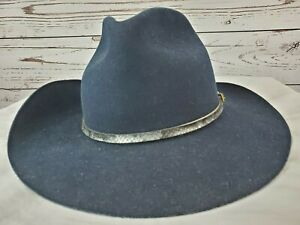 a2fd552a3 Details about Stallion by Stetson Navy Blue Wool Felt Cowboy Hat 6 7/8  Snakeskin Buckled Band
