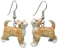 Je094 Ginger Kitten Earrings - Surgical Steel Porcelain Dangle - Little Critterz