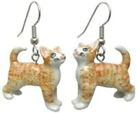 Je094 Ginger Kitten Earrings - Surgical Steel Porcelain Dangle - Little Critterz