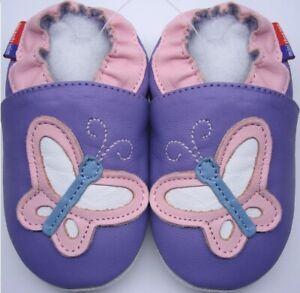 Suola-Morbida-Pelle-Neonato-Scarpe-Farfalla-Lilla-3-4y-USA-10-11-Pantofole-Mini