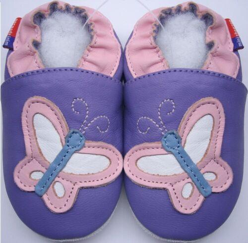 Weiche Sohle Leder Kleinkind Schuhe Schmetterling Lila 3-4y US 10-11 Hausschuhe