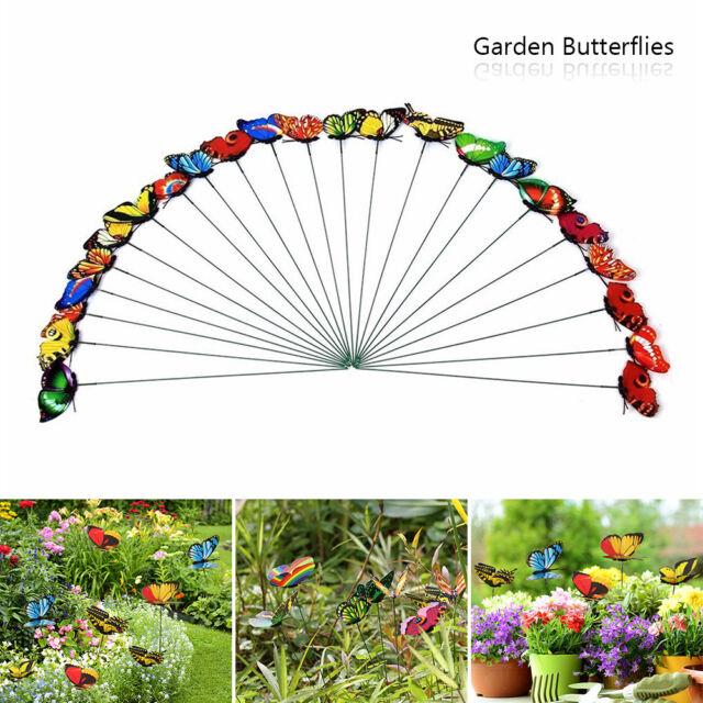 10X Garden Butterfly Plastic On A Stick Plant Flower Pot Vase Decor UK SOTCK