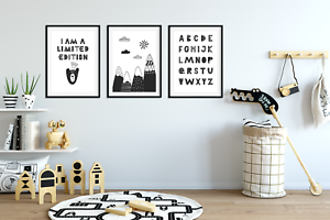 Scandinavian Style Set 3 Limited Edition Prints Pictures for Boys Bedroom
