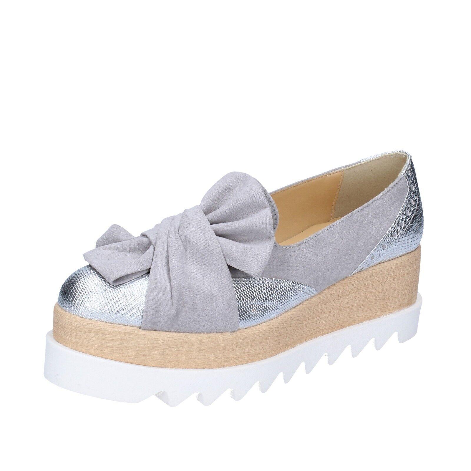 Para mujeres mujeres mujeres Zapatos Olga Rubini 2 (EU 35) Resbalón En gris Plata BS113-35 de cuero de gamuza  caliente