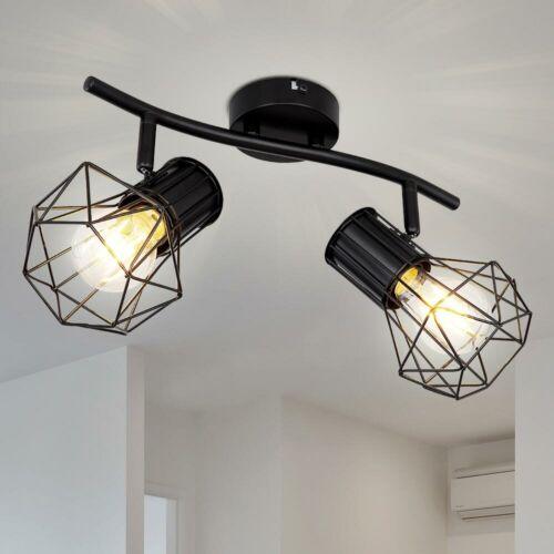 Decken Spot Lampe Strahler beweglich Beleuchtung Wohn Ess Zimmer Metall-Gitter