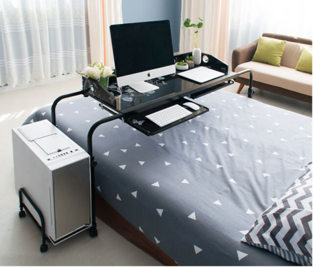 Home Rolling Adjule Computer Desk Table Over Bed Laptop Storage Furniture