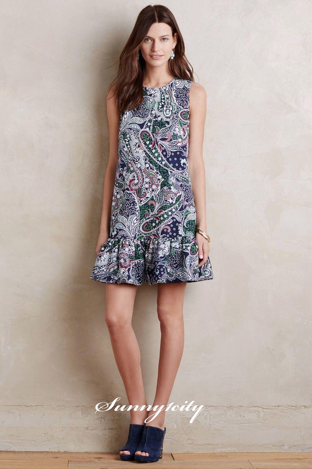 Nuevo con etiquetas Anthropologie dropwaist Paisley  Vestido por Cynthia Rowley Talla 10 impresión hermosa  los clientes primero