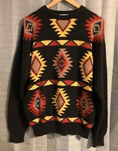 VTG-Parker-of-Vienna-Black-Orange-Yellow-Aztec-Pattern-Sweater-Large