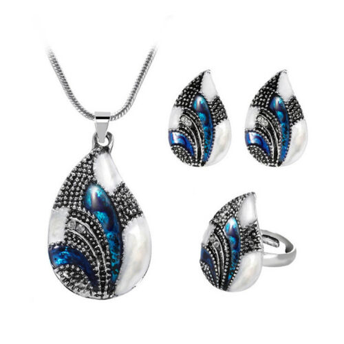 Unique Gold//Silver Sea Shell Pendant Necklace Ring Stud Earring Jewelry Set G